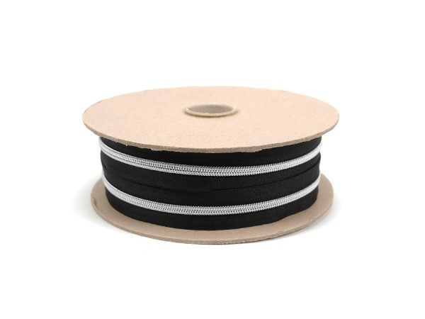 6mm Kunststoff Endlosreissverschluss schwarz / silber