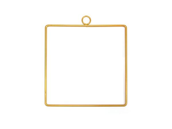 Viereck mit Anhänger / Makramee Gold