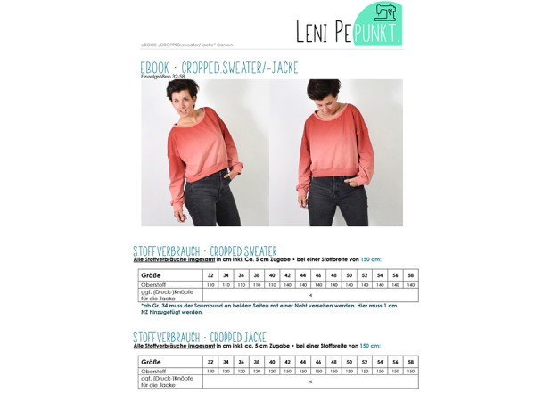 Schnittmuster / Cropped, Sweater- Jacke / Leni Pepunkt