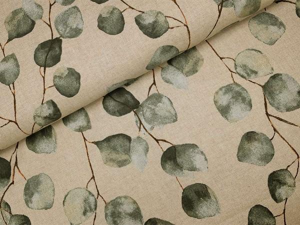 Dekostoff Nature mit Eukalyptus