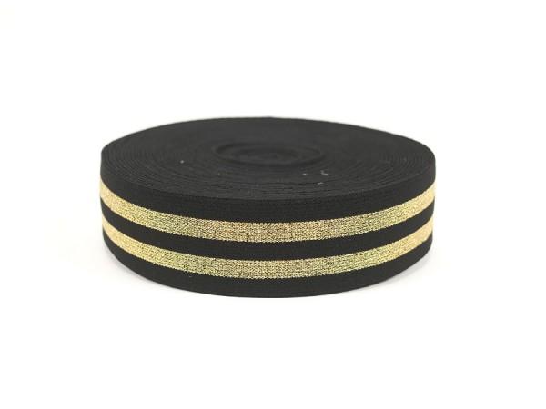Gummiband 35mm Lurex gold / schwarz / pro Meter